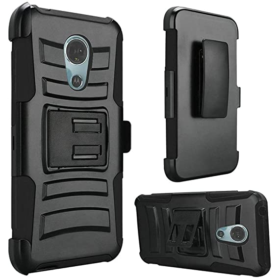 f3c40b28d338 Image Unavailable. Image not available for. Color  For Motorola Moto E5  Supra E5 Plus Hybrid Side Kickstand With Holster Clip Case ...