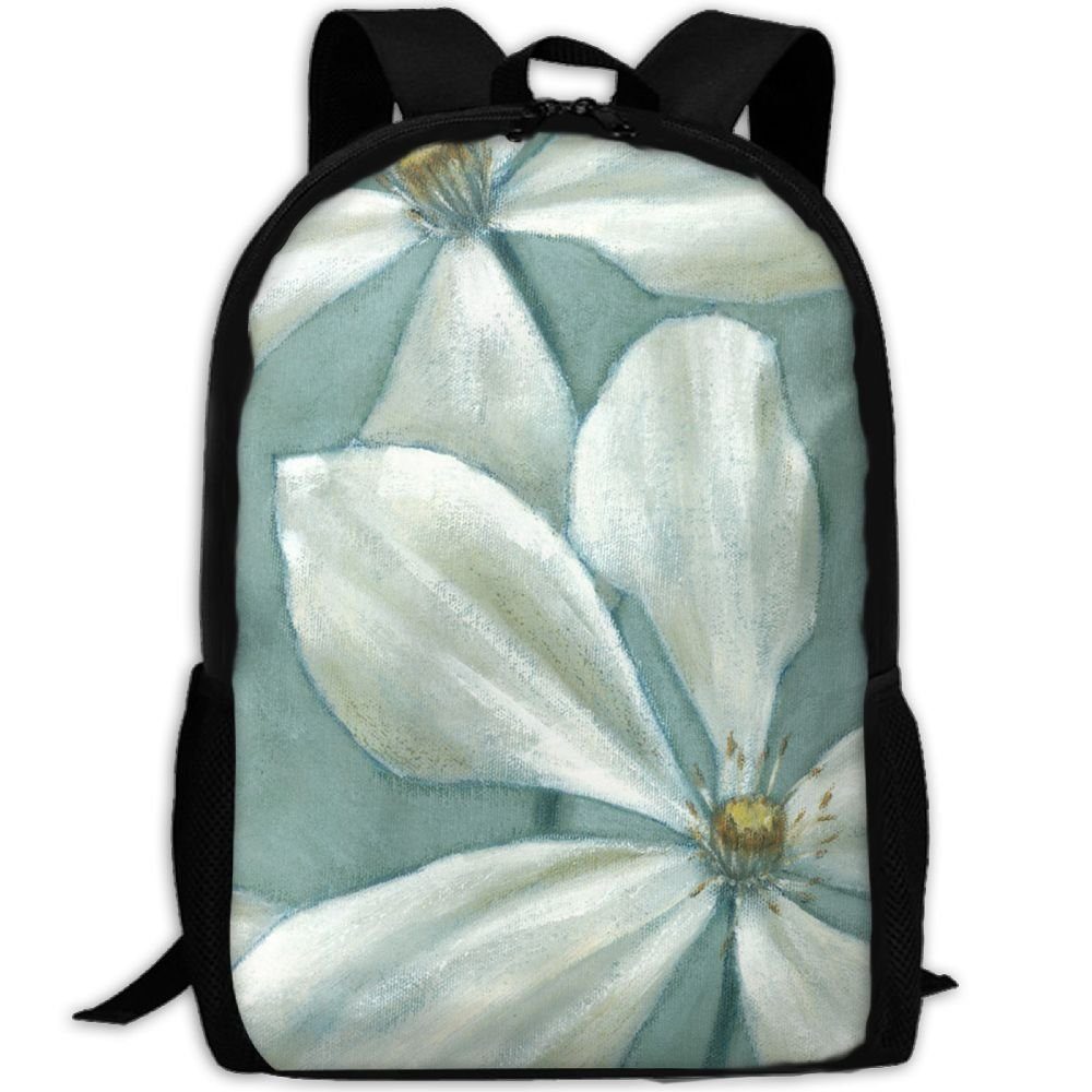 outlet SZYYMM Custome White Flower Oil Painting Oxford Cloth Fashion Backpack,Travel/Outdoor Sports/Camping/School, Adjustable Shoulder Strap Storage Backpack For Women And Men