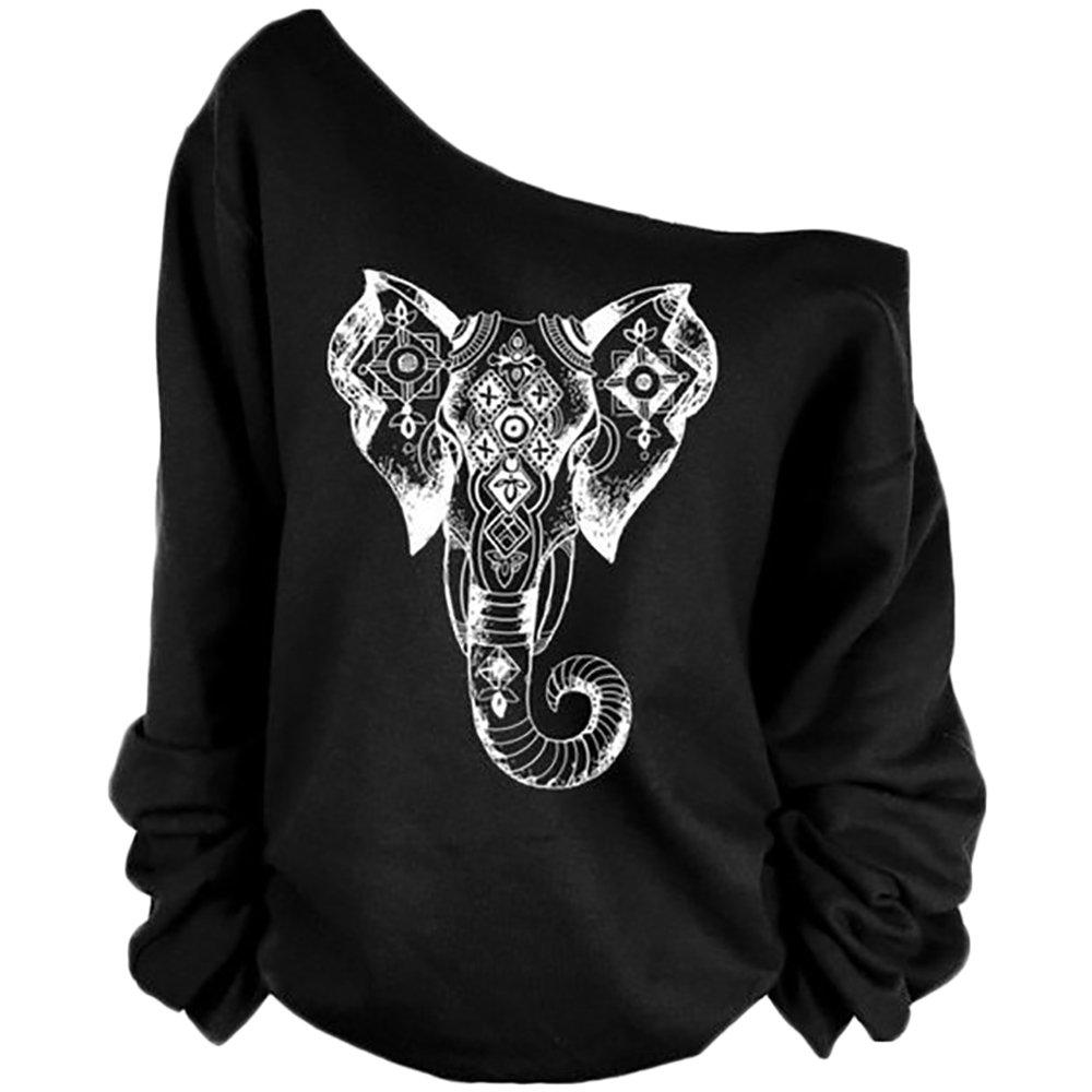 QZUnique Women's Digital Print Long Sleeve Strapless Pullover Fleece Sweatshirt Elephant Black