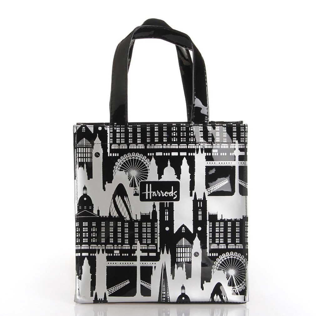 80e5ec7612d11 Amazon.com: HARRODS London Tower Black White PVC Shoulder Tote Shopping  Carrier Medium Bag Gift NEW: Baby