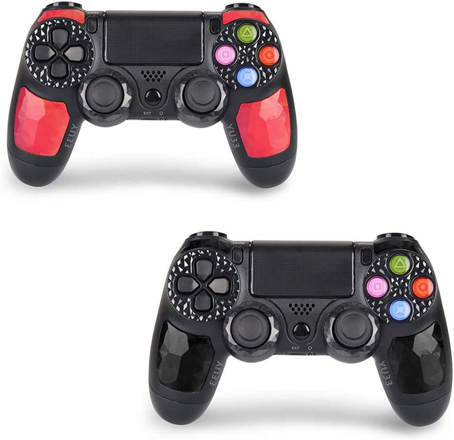 2 Pack Wireless Controllers for PS4 and for Playstation 4 Control - YU33 for DS4 Remote Joystick Support Playstation 4,Pro/Slim PS4,PC,PS TVs,Smart TV(Black+Red Diamond