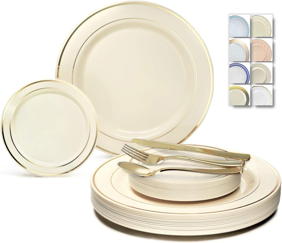OCCASIONS 300 Pcs Set & 60 Guest Wedding Disposable Plastic Plate & Silverware Combo Set (Ivory & Gold Rim plates, Gold Silverware) 61VvY4nYSlL