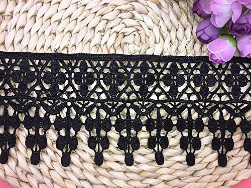 9CM Width Europe Applique Pattern Inelastic Embroidery Trims,Curtain Tablecloth Slipcover Bridal DIY Clothing/Accessories.(2 Yards in one Package) (Black)
