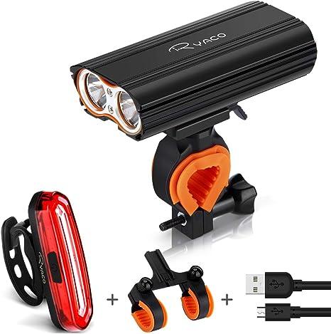 Ryaco Luz Bicicleta Recargable USB, 4 Modos 2400 Lúmenes IP65 Impermeable, Linterna Bicicleta con Luz Bicicleta Delantera y Trasera, Luz LED Bicicleta para Carretera y Montaña: Amazon.es: Deportes y aire libre