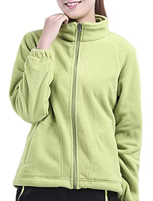 ChezMax Outdoor Womens Ultra-light Snowproof Thermal Fleece Jacket With Plush Lining, Light Green, XS