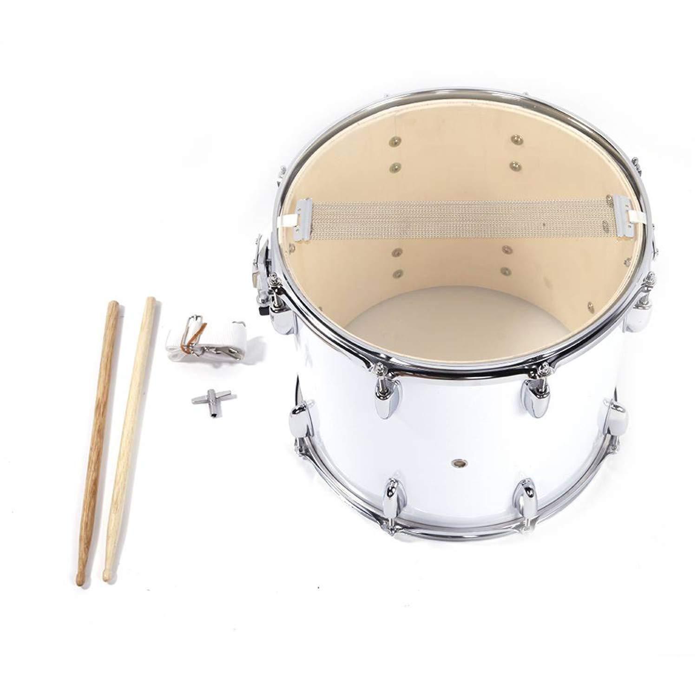 SHUTAO 14 x10 inches Marching Drum Drumsticks Key Strap White