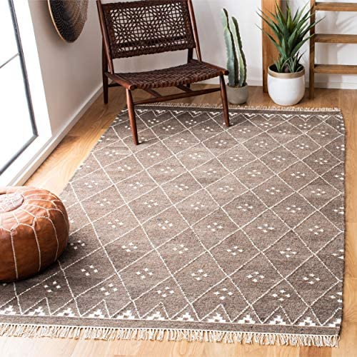Safavieh Natural Kilim Collection NKM316A Flatweave Brown and Ivory Wool Area Rug 5' x 8'