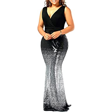 9add97ec3a2 Langstar Plus Size V Neck Floral Embroidered Sleeveless Mermaid Prom Dress( Black