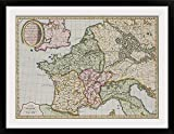 GreatBIGCanvas ''Antique Map of The French Empire in Western Europe '' Photographic Print with black Frame, 36'' X 26''''