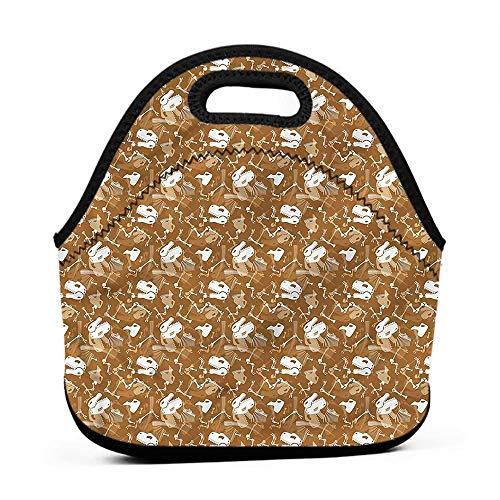 (Large Size Reusable Lunch Handbag Jurassic,Skeletons Bones Reptiles,seahawks lunch bag for men)