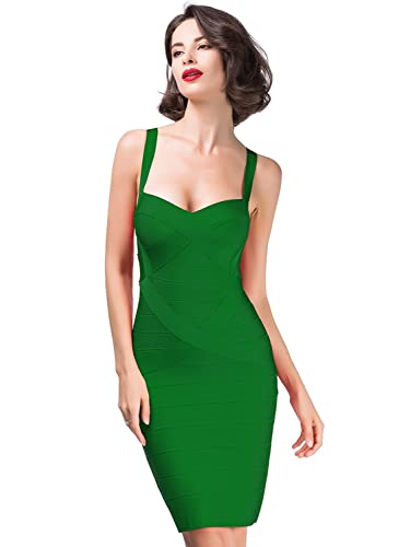 Alice & Elmer Women's Rayon Strap Sleeveless Spaghetti Bodycon Mini Bandage Club Dress
