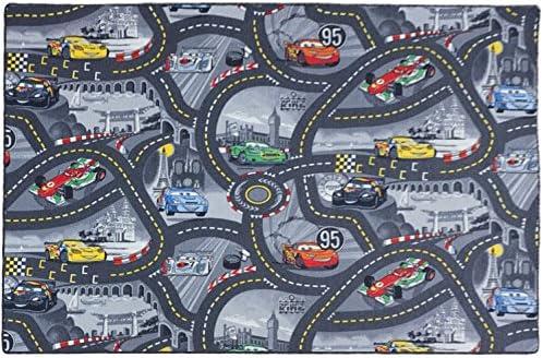 Disney Cars Spielteppich Kinderteppich Teppich Grau Straßenteppich Straße Auto