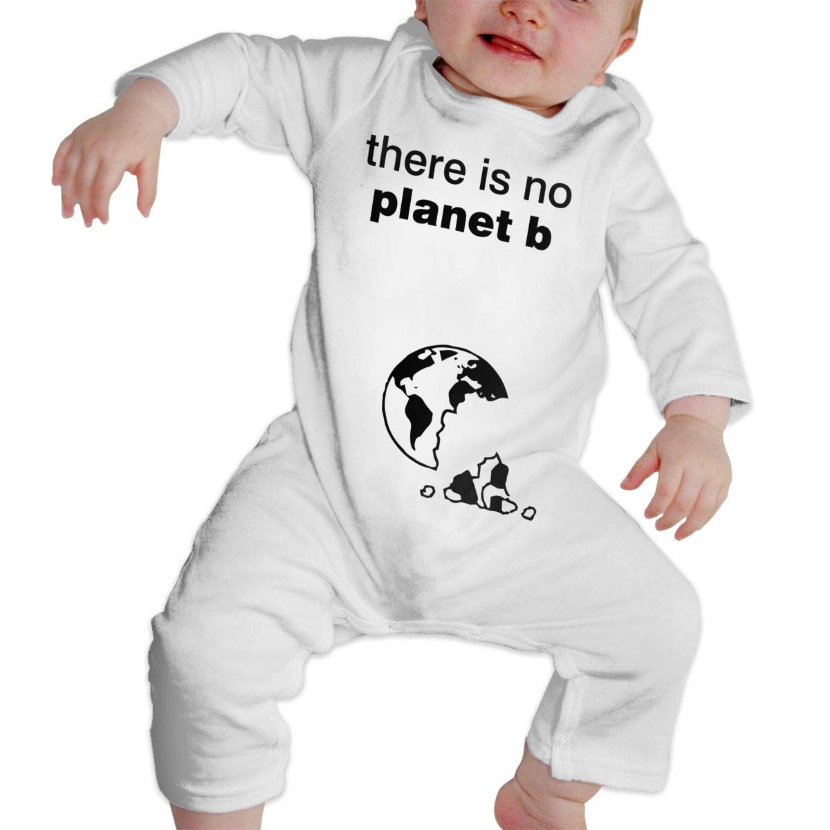 Infant Baby Boys Girls Cotton Long Sleeve There is No Planet B Earth Climb Jumpsuit Funny Printed Romper Clothes