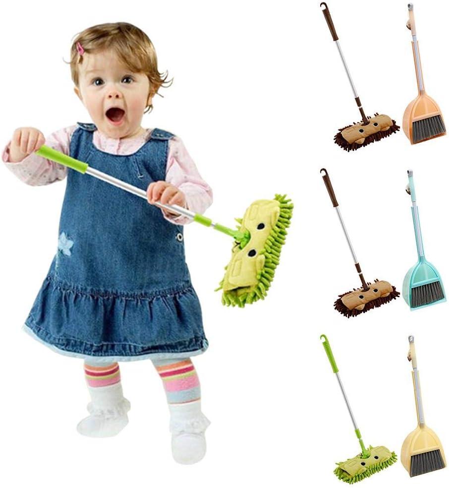 Teleskopflachmopp feasible Fun Miju 3tlg Babyhauskehrspielzeug-Kombination Kindermopp-Besenstaub-Set