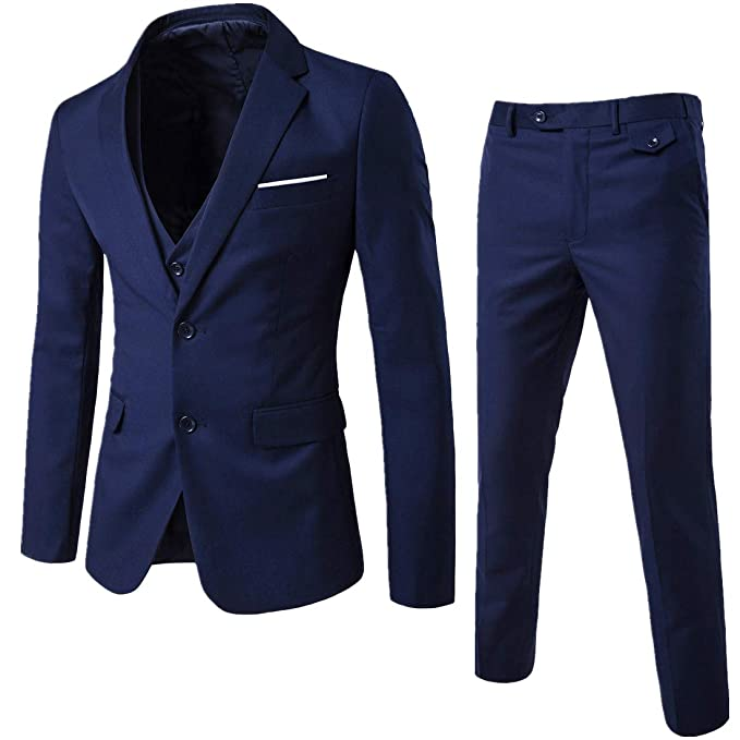 83240cfc2d YIMANIE Men's Suit Slim Fit One/Two Button 3 Piece Suits Jacket Vest &  Trousers