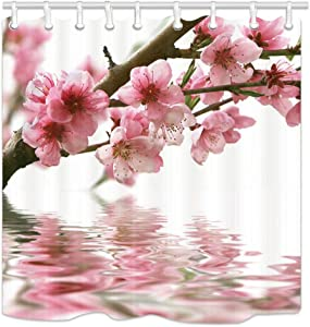 NYMB Spring Floral Flower Decor Shower Curtain, Pink Peach Japanese Cherry Blossom Reflected in The Water, Farmhouse Bathroom Curtains, Polyester Fabric Flowers Shower Curtain Set with Hooks, 69X70in