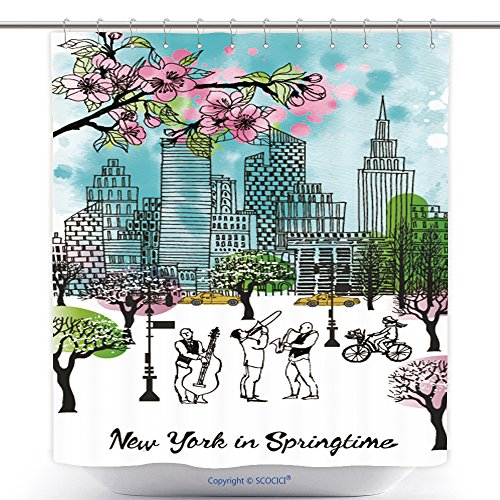 vanfan-Polyester Shower Curtains New York in Springtime Watercolor Vector Background Polyester Bathroom Shower Curtain Set Hooks(70 x 84 inches)