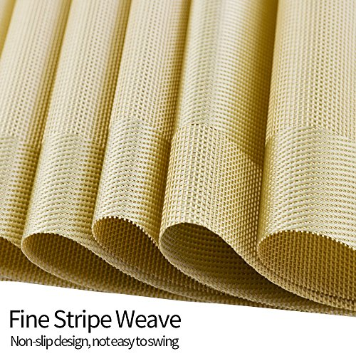 Orangehome Set of 6 Placemats,Placemats for Dining Table,Heat-resistant Placemats, Stain Resistant Washable PVC Table Mats,Kitchen Table mats(Gold) by Orangehome (Image #3)