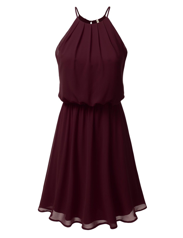 DRESSIS Womens Double Layered Chiffon Mini Tank Dress Burgundy XL