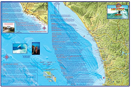 San Diego Surf Map Laminated Surfing Guide Poster by Franko Maps (Surf Spots Map)