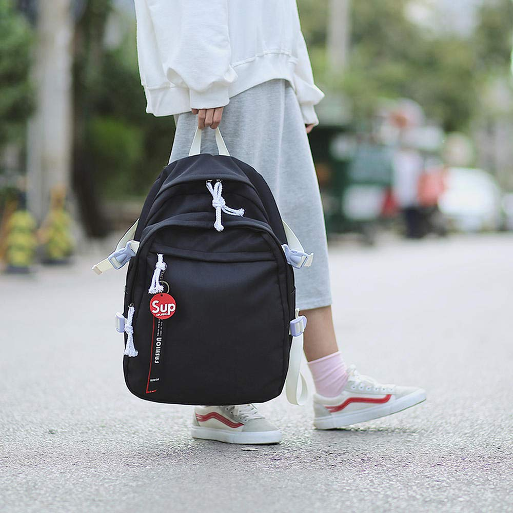Black Bag female middle school student Korean version of canvas ulzzang high school junior high school student backpack Hong Kong street school college wind schoolbags ins super fire large capacity backpa