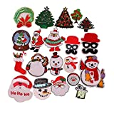 20pcs Christmas Santa Snowman Tree Gift Collection Iron-on or Sew-on Embroidered patch Motif Applique (Christmas Festival)