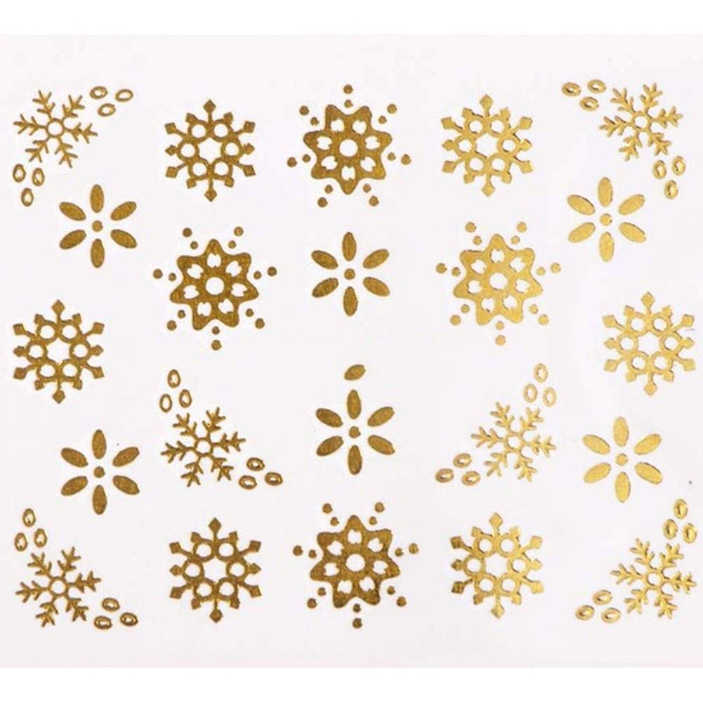 HITTIME 16PCS/SET 3D Nail Sticker Golden Water-Transfer Xmas Christmas Snowflake Tree Deer Pattern DIY Decal Decor Tool HITTIME Owner
