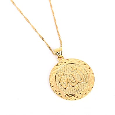 Allah gold pendant necklace link chain middle east charm islam round allah gold pendant necklace link chain middle east charm islam round pendant for woman men aloadofball Images