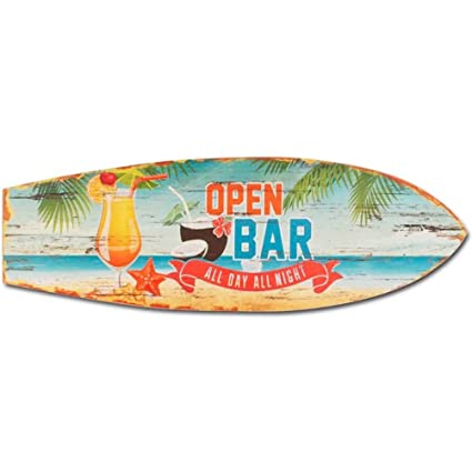 Bar Abierto Tabla de surf de madera decoración de pared