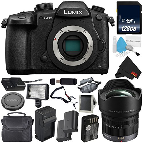 Panasonic Lumix DC-GH5 Mirrorless Micro Four Thirds Digital Camera (Body Only) + Panasonic Lumix G Vario 7-14mm Lens(International Version) + 128GB Class 10 Memory Card Bundle For Sale