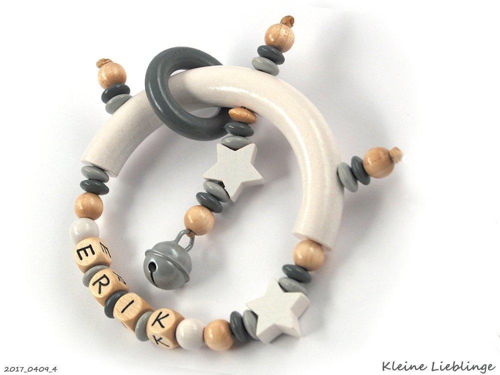 Greifling Greifring mit Namen 3 - 7 Buchstaben Jungen oder Mädchen Unisex - natur grau hellgrau Taufgeschenk personalisiert, tolles Geschenk zur Taufe Geburt Holz Holzbuchstaben Made in Germany
