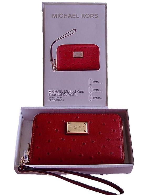 1ef03d47a56038 Michael Kors Essential Zip Wristlet Red Leather Wallet: Amazon.co.uk:  Electronics