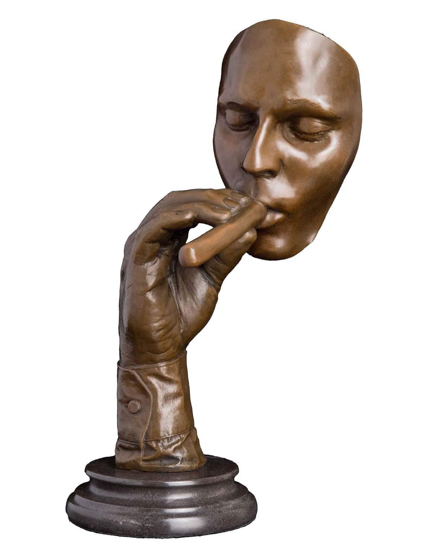 Artylife Lost Wax European Bronze Sculpture Smoking Man Cigar Marble Base Figurine by Dali Bronze Statue Home Decor Collectible Gift