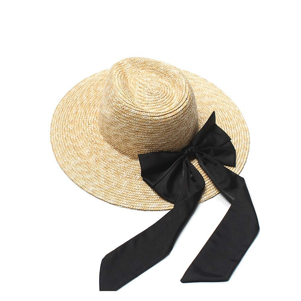 SHENTIANWEI Fashion Sun Hat Distaff Summer Shuck Straw Hat Black Bow Jazz Top Visor Big Sunscreen Sun Hat