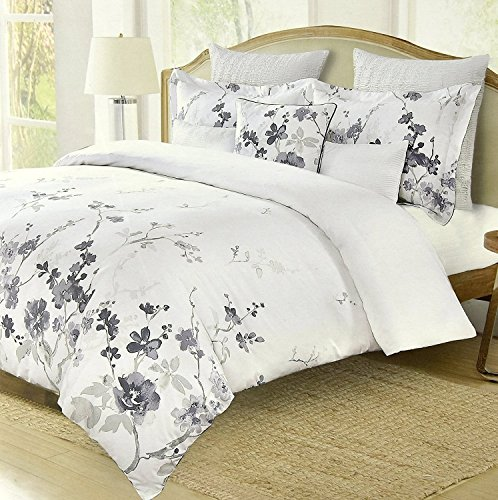 Nicole Miller Asian Cherry Blossom Duvet Cover Bedding Set Lavender Lilac Silver Oriental Floral Branches Print 300tc Cotton 3pc King Size