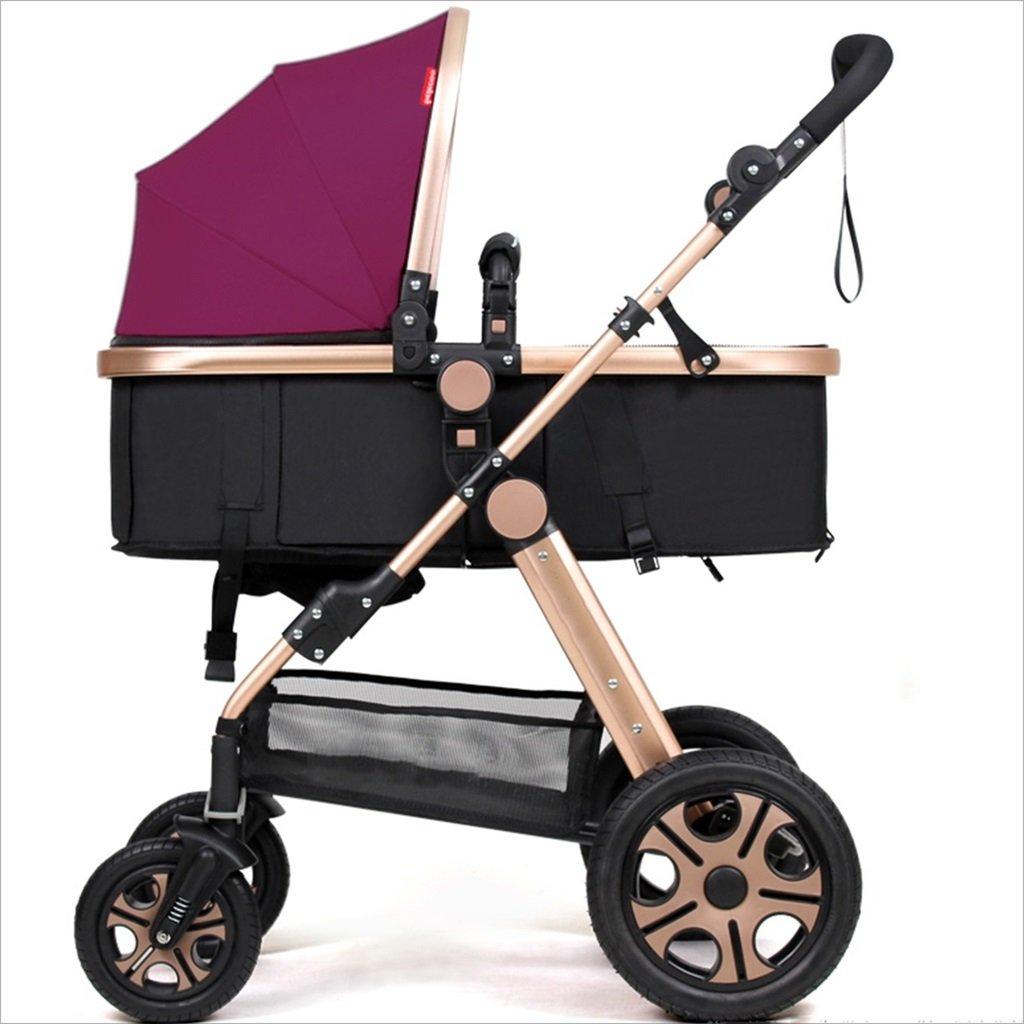 新生児の赤ちゃんキャリッジ折りたたみ可能な座って、1ヶ月のためのダンピングの赤ちゃんカートに落ちることができます 3歳の赤ちゃんの双方向四輪ベビートロリーを振るのを避ける (色 : パープル ぱ゜ぷる) B07DV8TQ87 パープル ぱ゜ぷる パープル ぱ゜ぷる