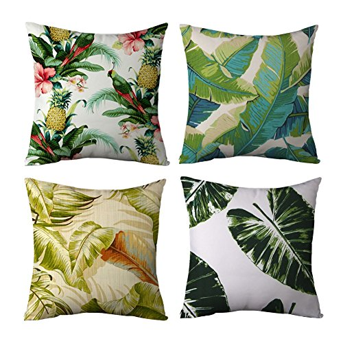 Popeven Tropical Cushion Cover for Couch Square Canvas Accent Palm Tree Leaves Decor Pillow Cover Green Sofa Standard Pillowcase for Living Room 45 x 45 cm