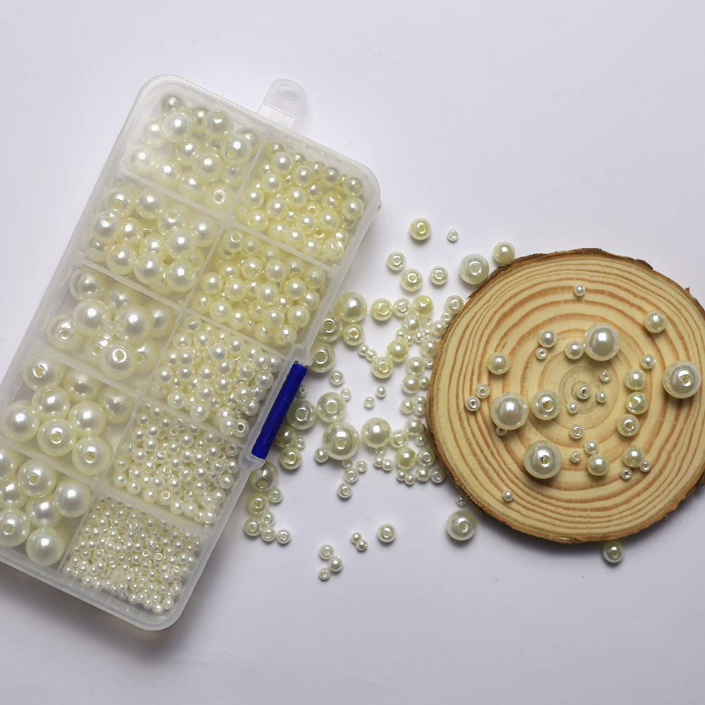 Creme Wei/ß DAHI perlen Runde Dekoperlen Creme Wei/ß Bastelperlen mit Loch Gemischte Gr/ö/ße f/ür Schmuckherstellung