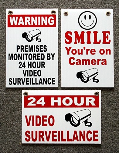 3Pc Unrivaled Popular Security Signs Anti-Robber Protection CCTV Warning Video Alarm Coroplast Size 8