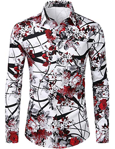 (ZEROYAA Men's Hipster Rose Design Casual Slim Fit Long Sleeve Button Down Floral Shirt ZLCL04-105-Burgundy XXX-Large)