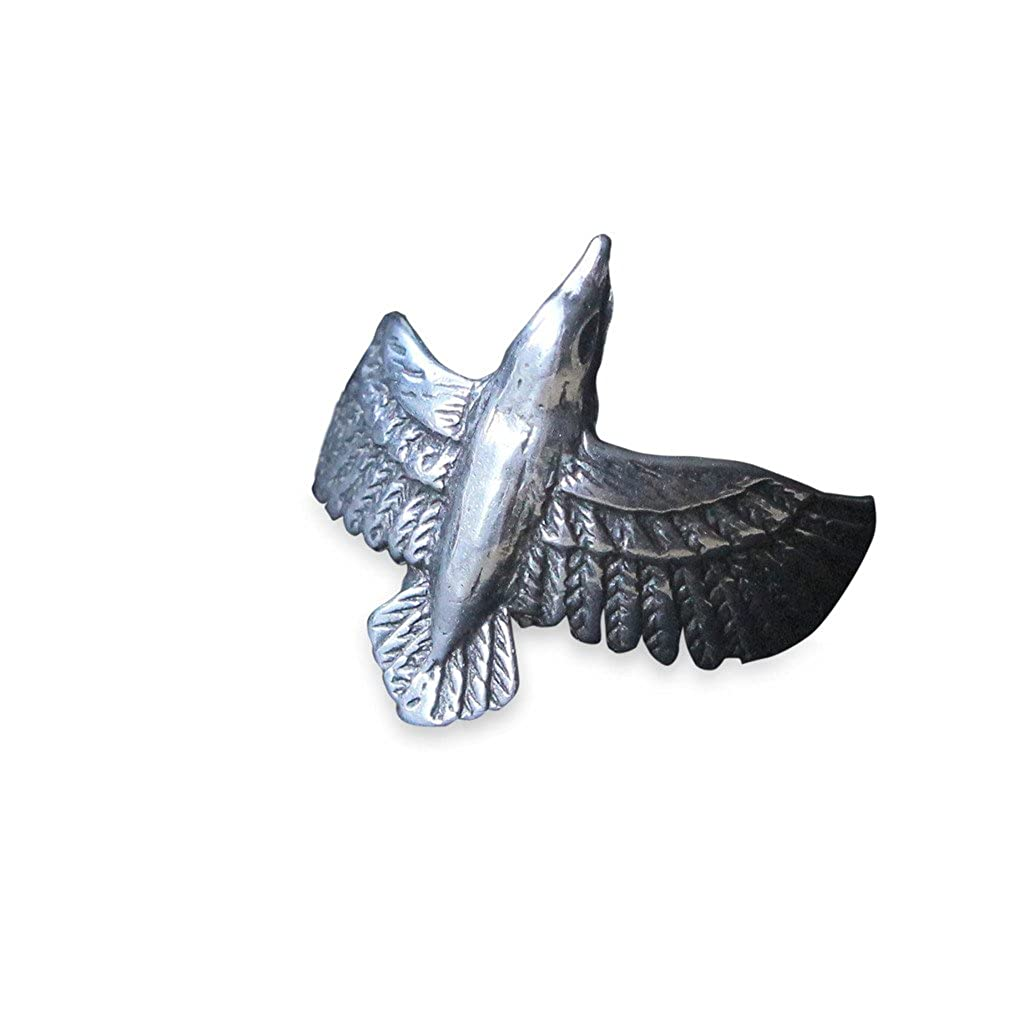 Moon Raven Designs - Flying Raven Ring - Solid Cast Silver Plated White Bronze - Size 7 - Jewelry with an Edge Inspired by Nature