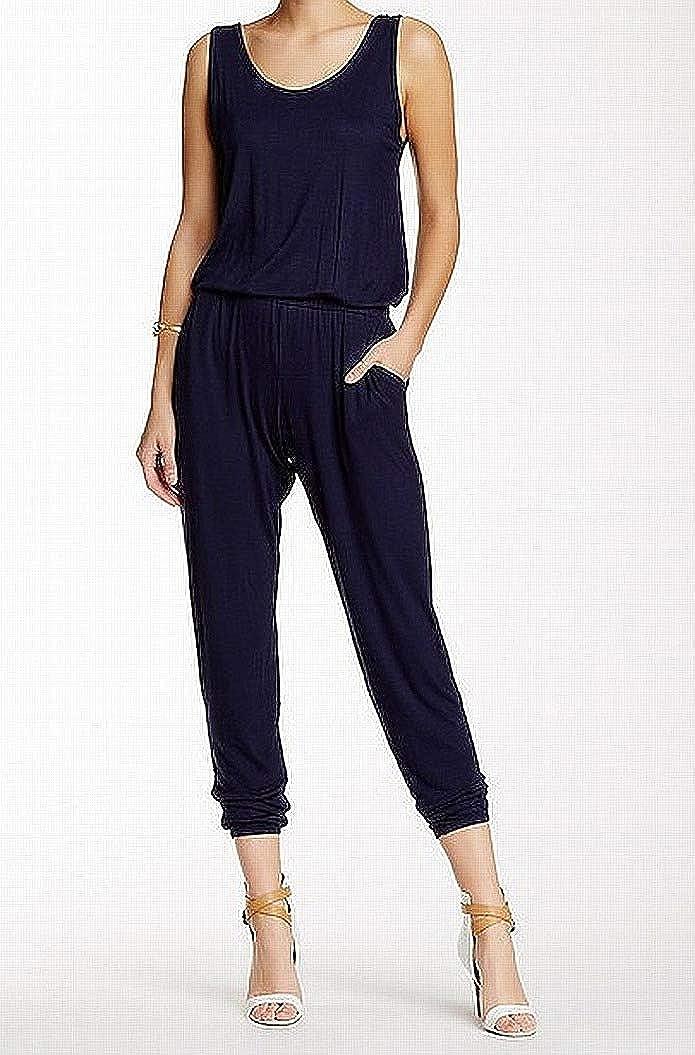 Loveappella Navy Womens Medium Scoop Neck Jumpsuit Blue M