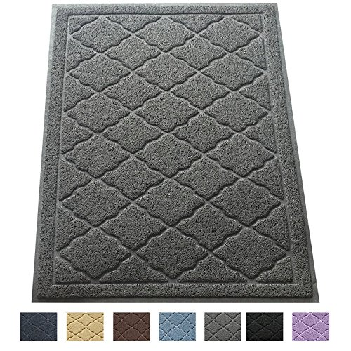 Easyology Extra Large 35 x 23 Cat Litter Mat, Traps Messes, Easy Clean, Durable, Non Toxic - LIGHT GREY