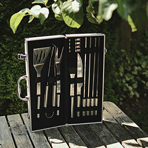 Flamen Bbq Tools Set, 13-Piece Grill Tools Set With 1 Aluminum Case, Heavy Duty Stainless Steel Barbecue Premium Grilling Utensils Accessories for Barbecue Spatula Tongs Fork Skewer and Basting Brush by Flamen (Image #3)