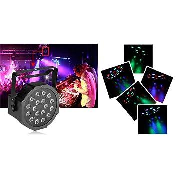 tradeshoptraesio® - Faro proyector RGB DMX 512 efecto luz Flat Par ...