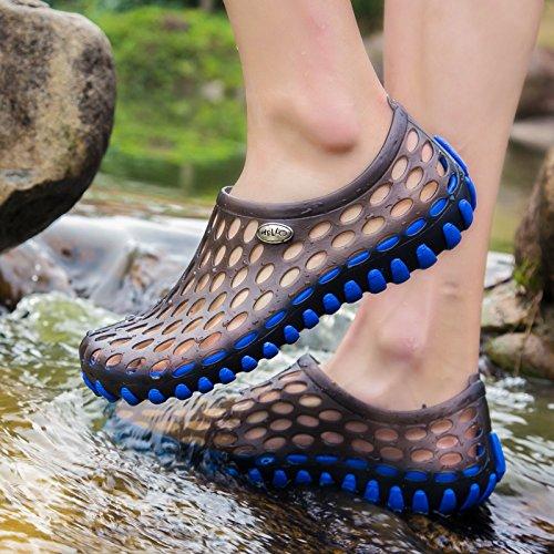 Xing Lin Flip Flop De La Playa Agujero Exterior Zapatos Verano Masculino Par De Modelos De Gran Tamaño De Deslizamiento Sandalias Sandalias Transpirable Hombres Marea Zapatillas dark blue