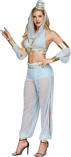 Genie Princess Jasmine Arabian Fancy Dress Belly Dancer Costume Set Women Lady
