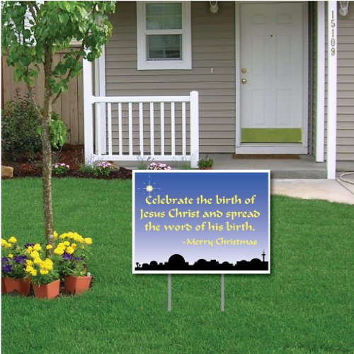 VictoryStore Yard Sign Outdoor Lawn Decorations -Celebrate The Birth of Jesus Christ Christmas Lawn Display - Yard Sign Decoration with 2 EZ Stakes