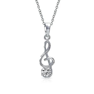 bb0e29b8470 Bling Jewelry Clé de Sol Note de Musique zircone cubique CZ Pendentif  Argent 925 Accent Femmes