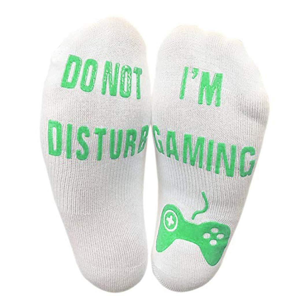 vermers Novelty Socks Unisex 'Do Not Disturb' Great Gamer Gift Letter Print Funny Ankle Socks(Green)